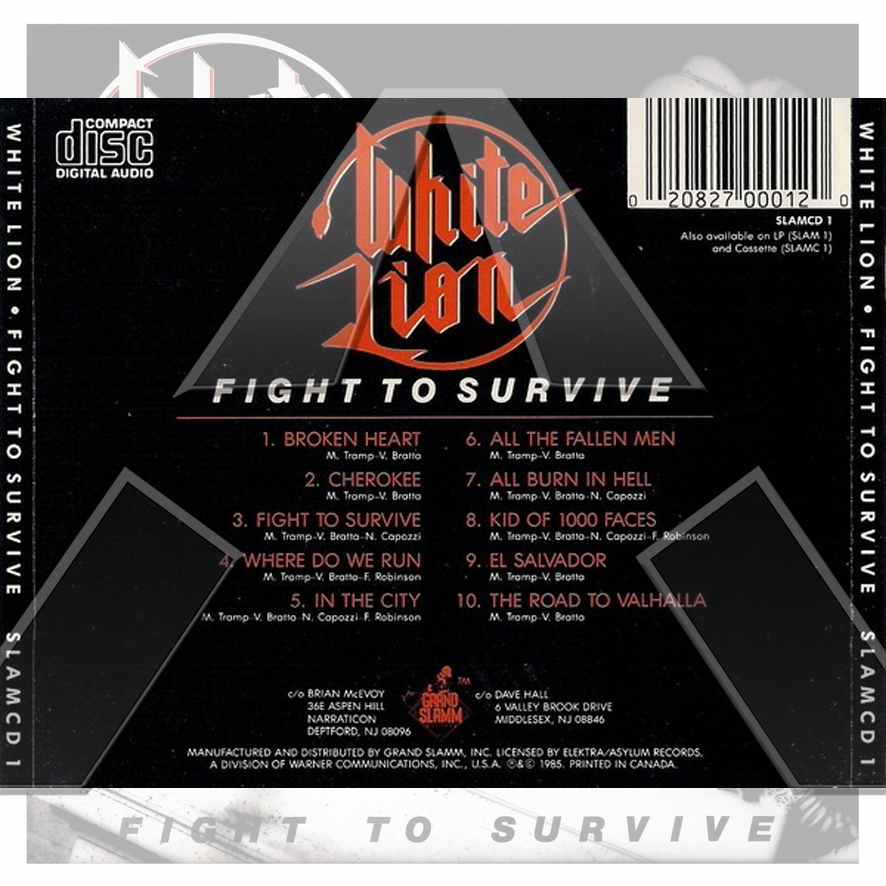 White Lion ★ Fight to Survive (cd album - CAN/US SLAMCD1)