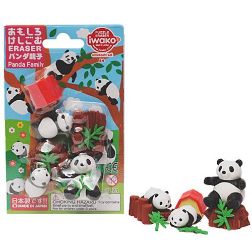 Iwako förpackade suddgummin - Pandor