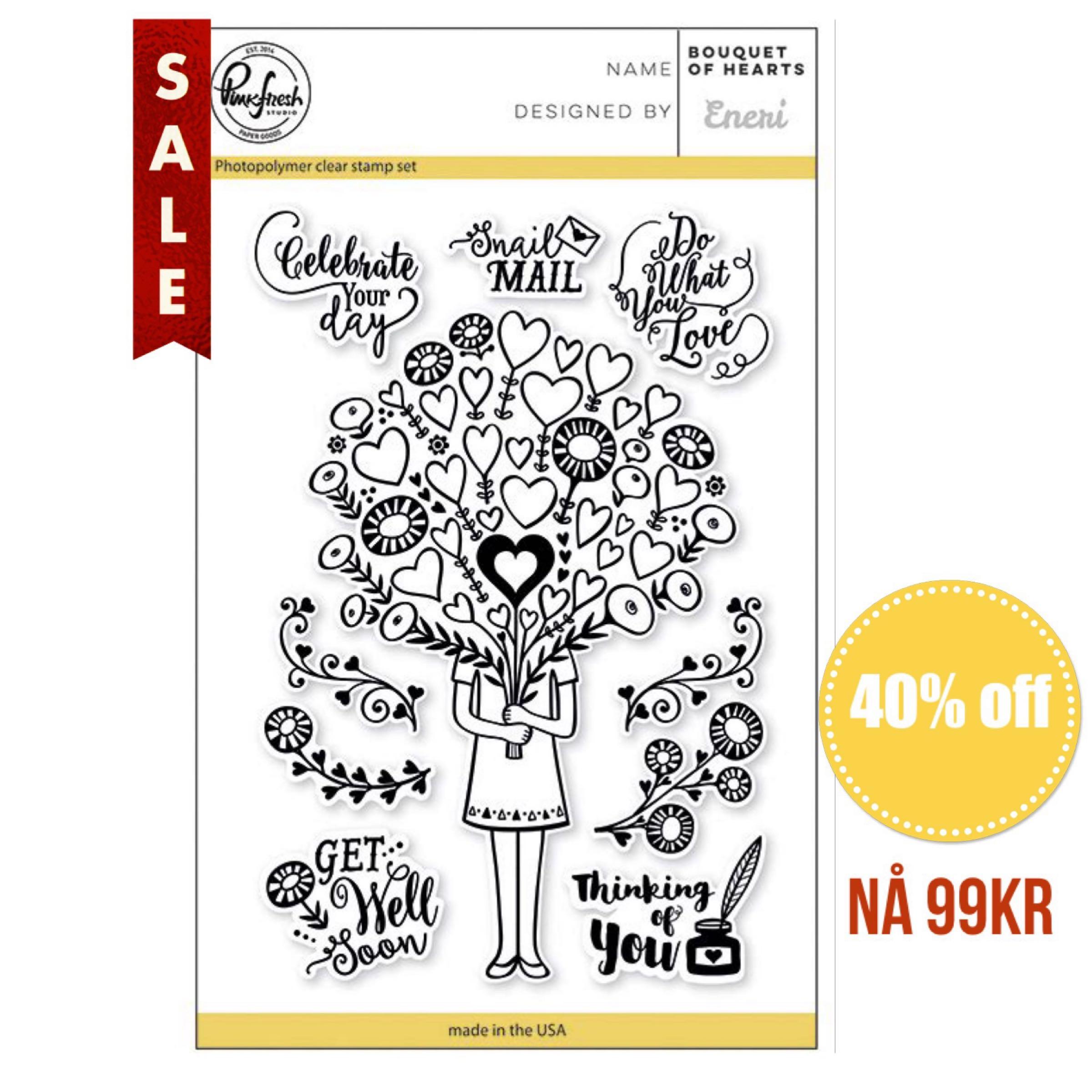 Pinkfresh Clear Stamps / Klar Stempelpakke - Bouquet Of Hearts