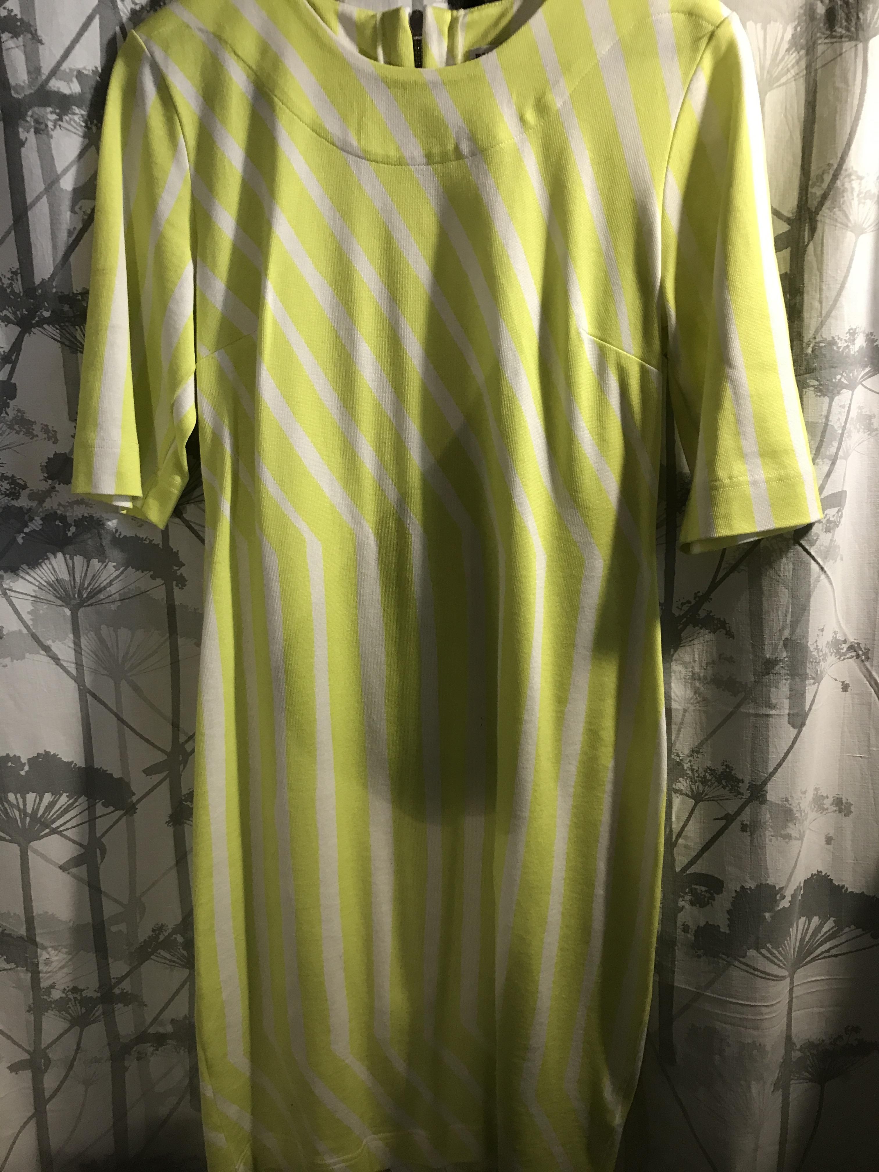 Marimekko kelta-valkoinen mekko Silkkikuikka M