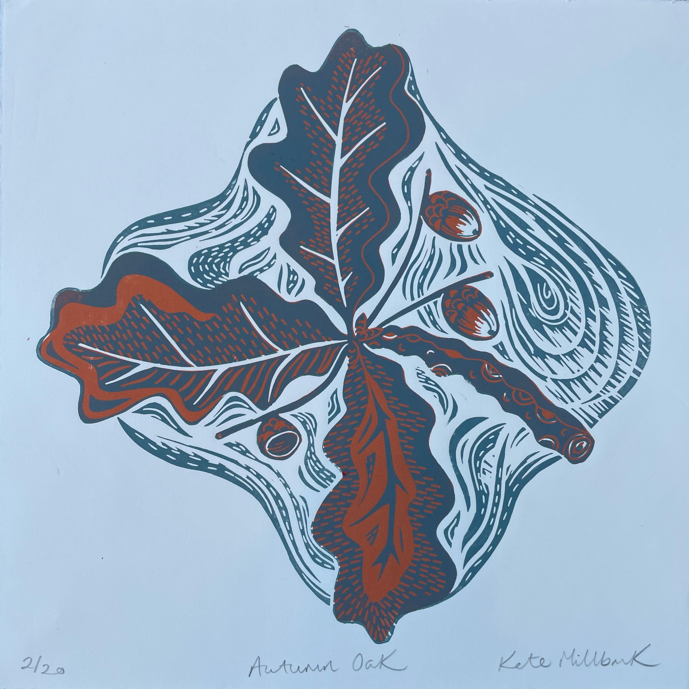 Autumn Oak Two Colour Lino Print by Kate Millbank
