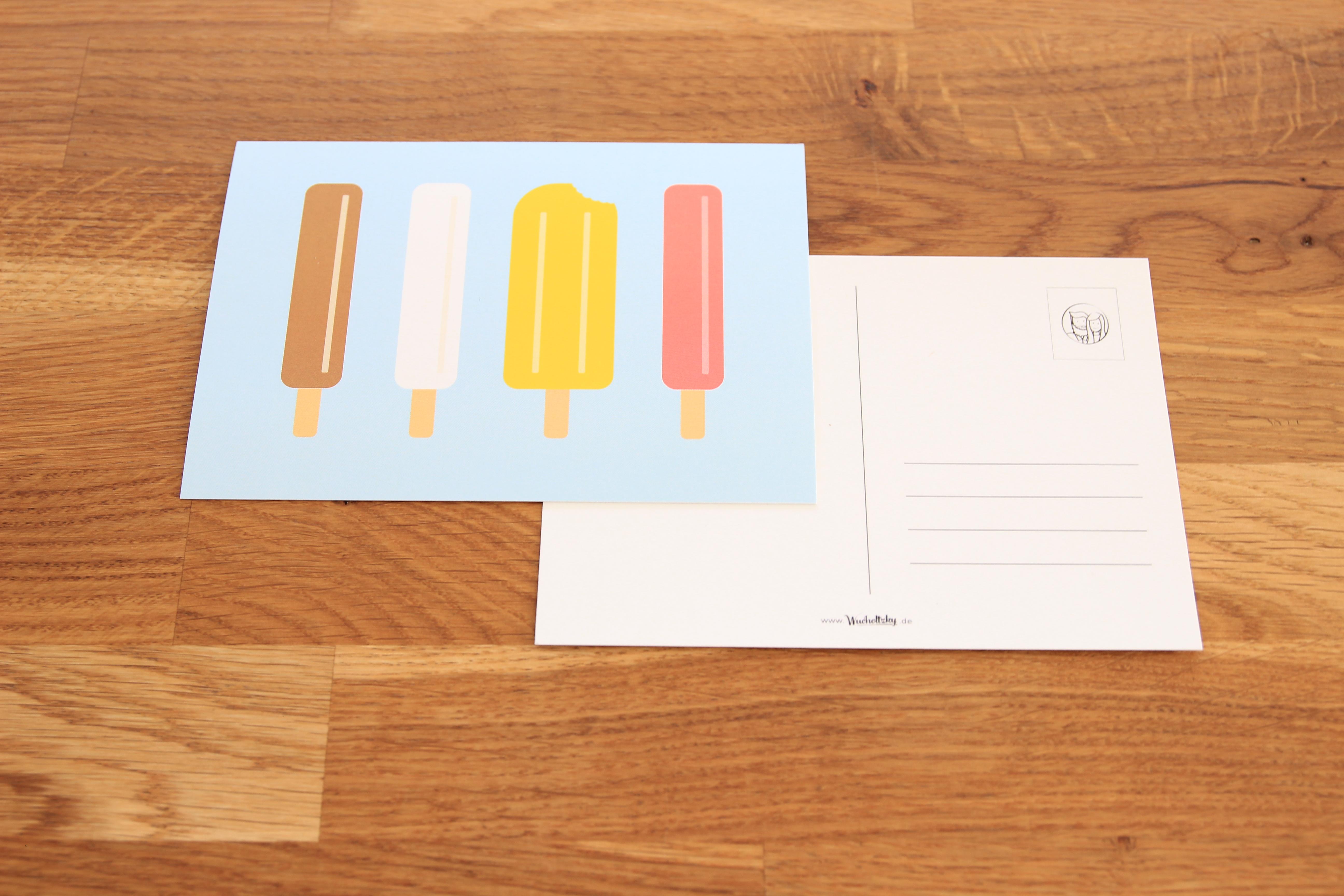 Postkarte Eis am Stiel