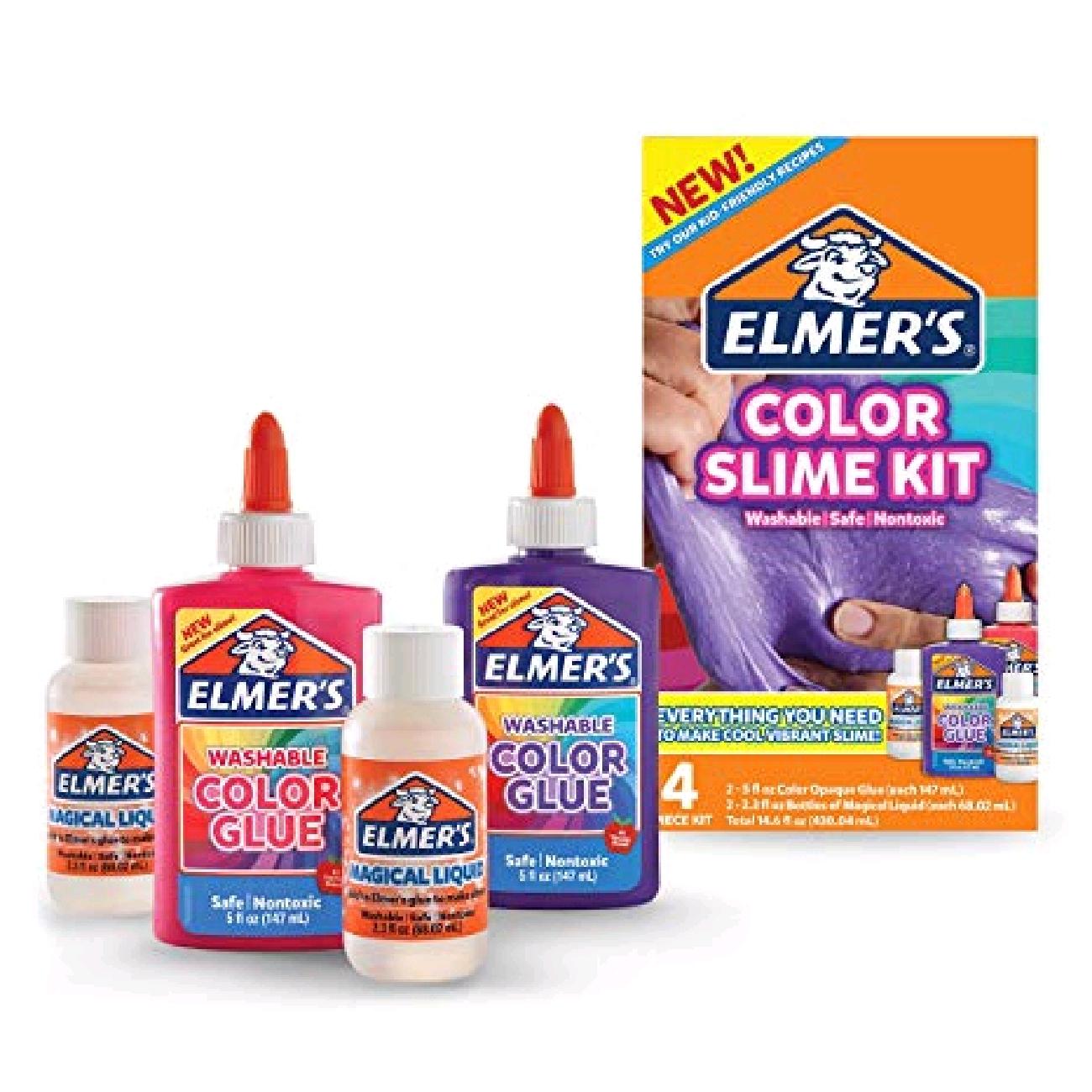 Elmer's - Slime Kit - Pink and Purple -  Alt du trenger til å lage slim (her slipper du barberskum, linsevann og natron o.l) i rosa og lilla.