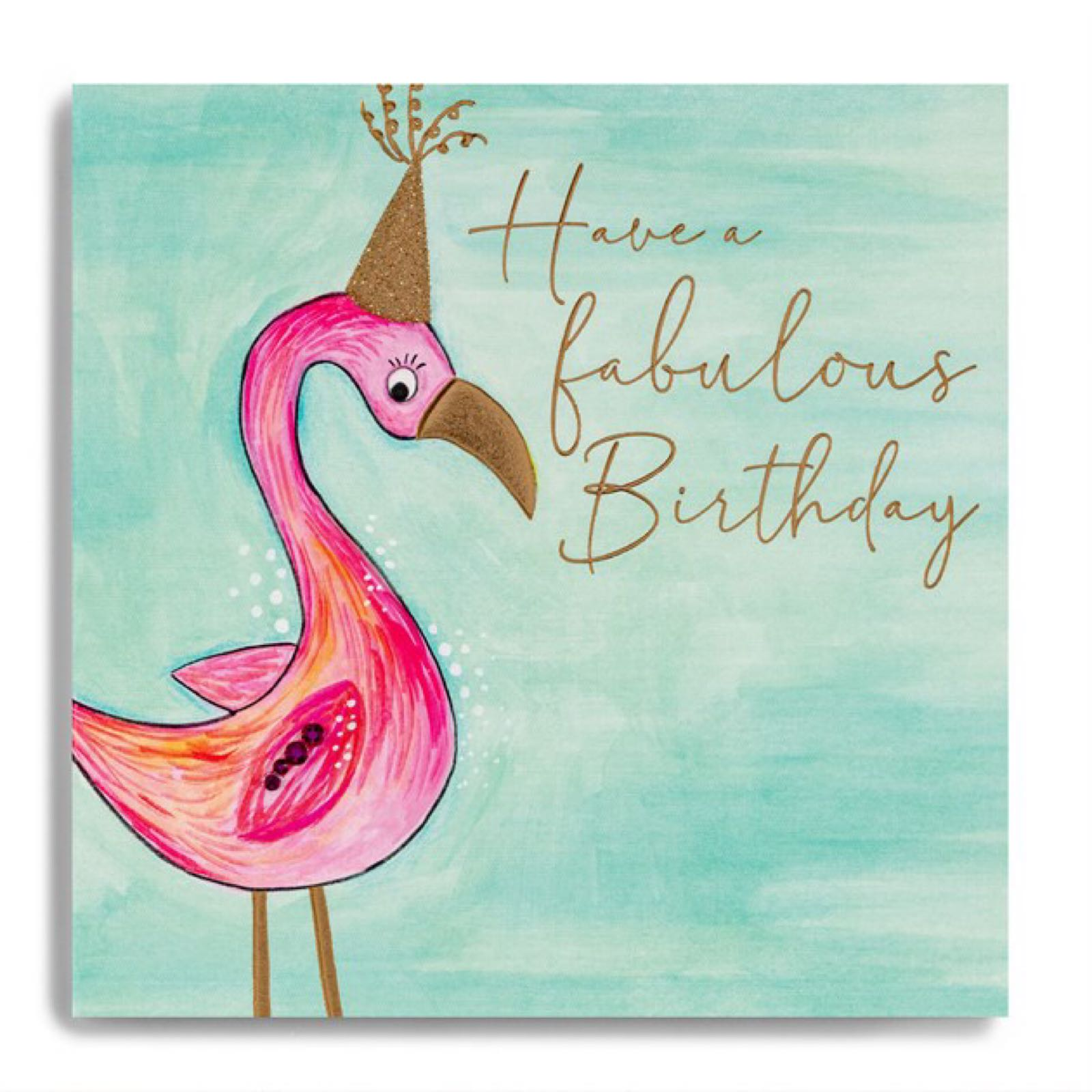 Janie Wilson flamingo Happy Birthday card