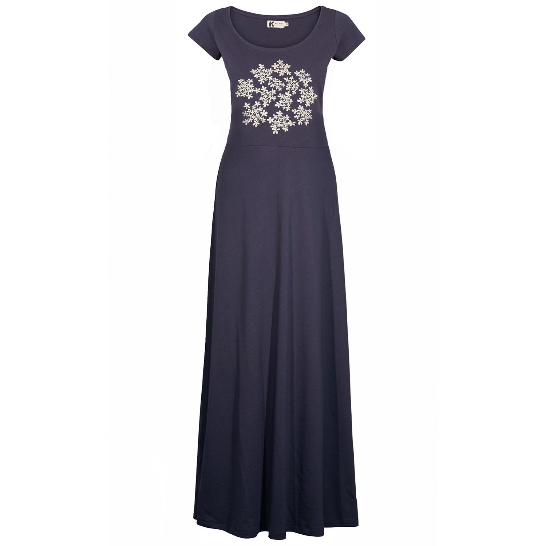 Lang kjole med blomsterbroderi