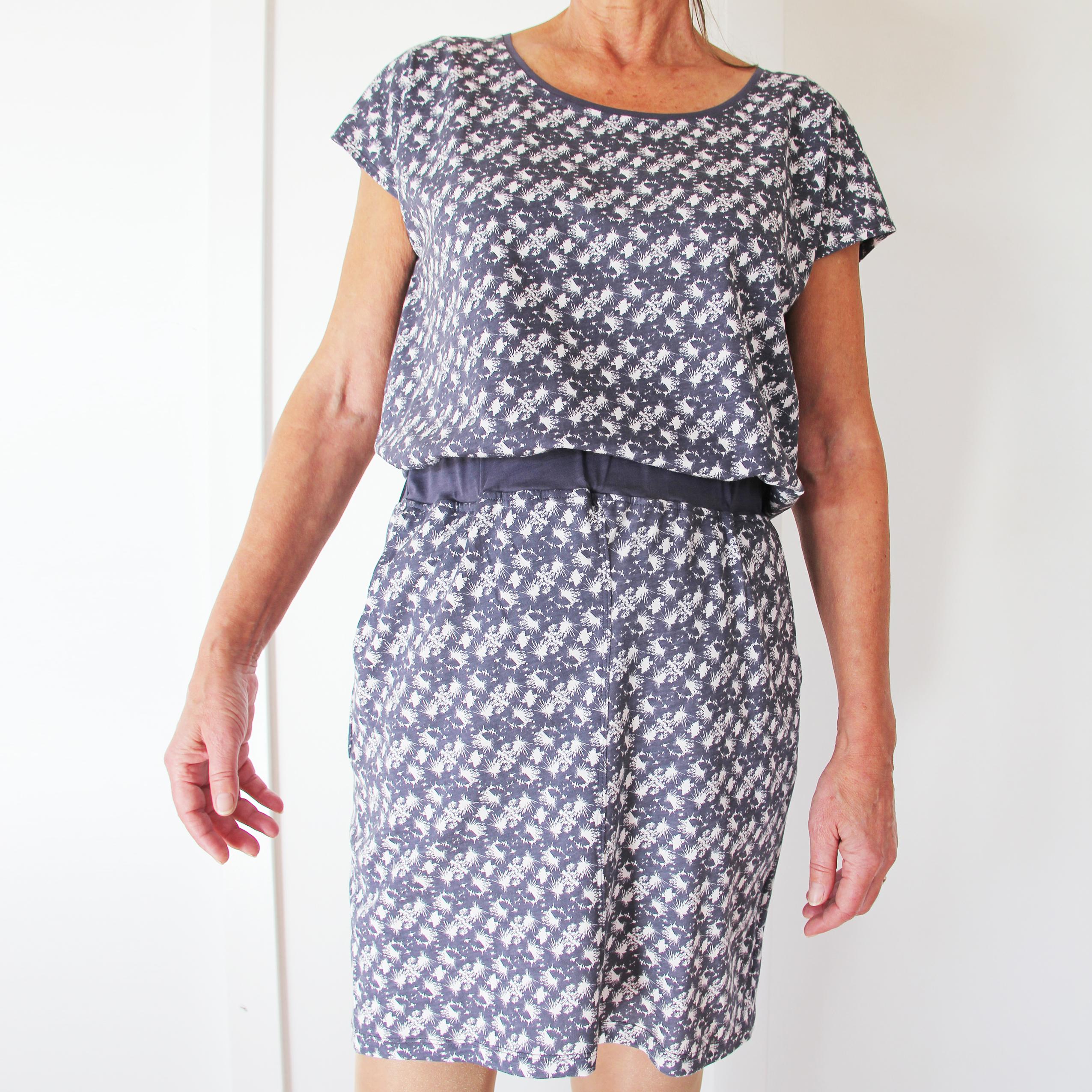 Printet nederdel med lommer