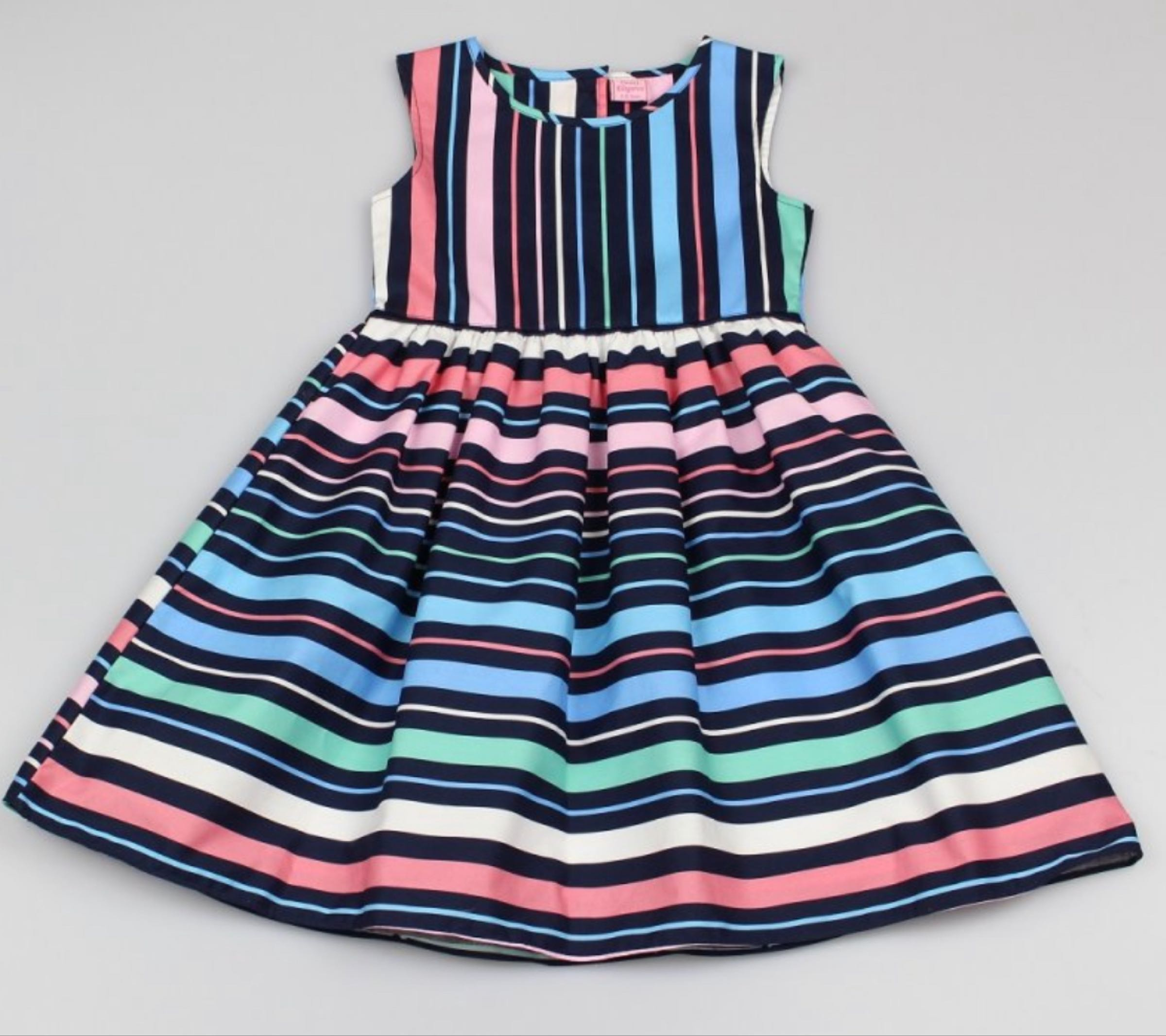Navy multi coloured stripe print dress