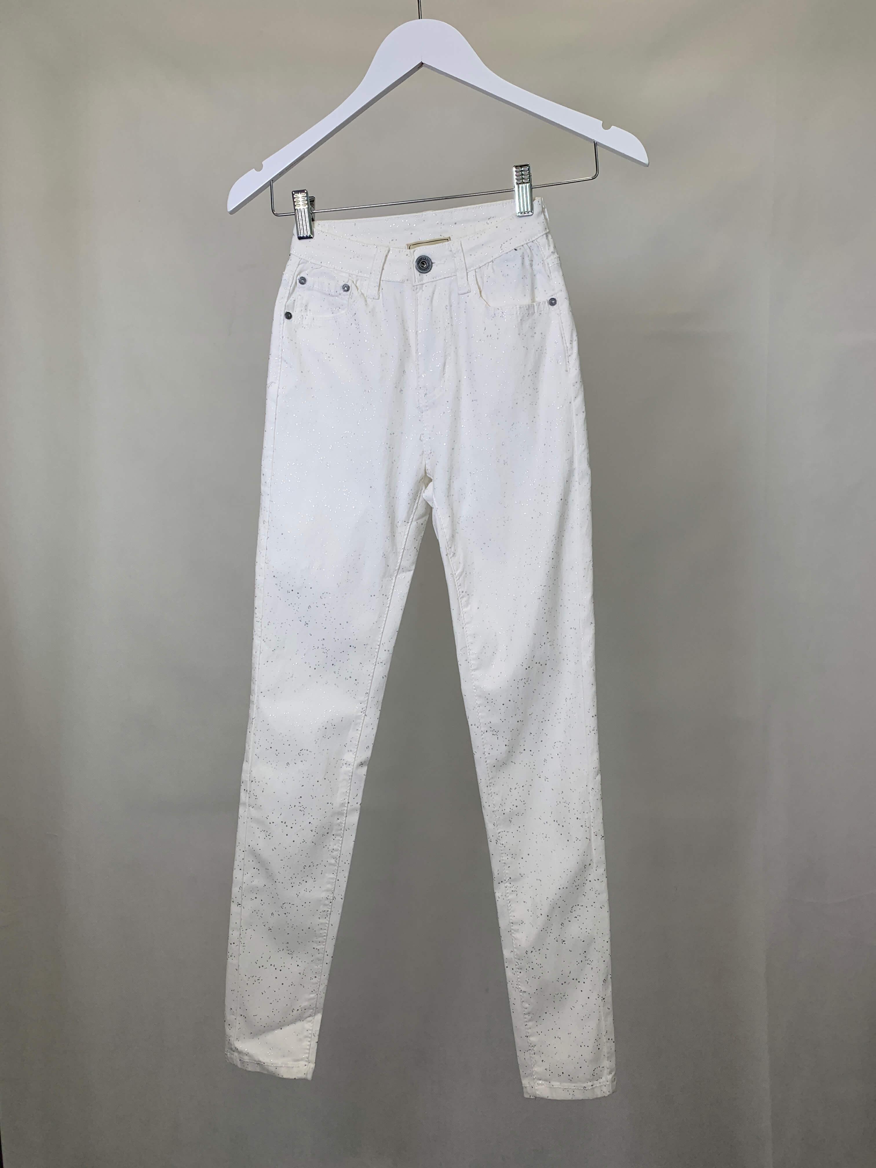 Jeans weiss silber Aplikationen