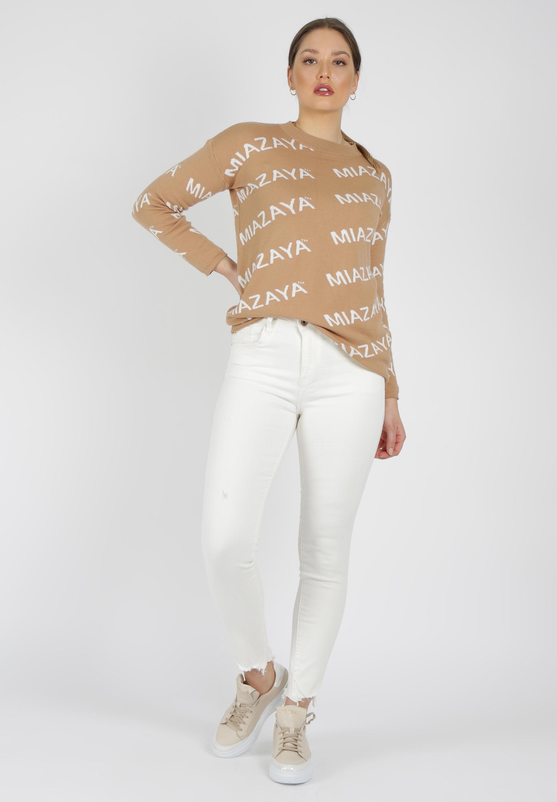 Jeans creme weiß Fransen