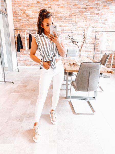 Jeans creme weiß