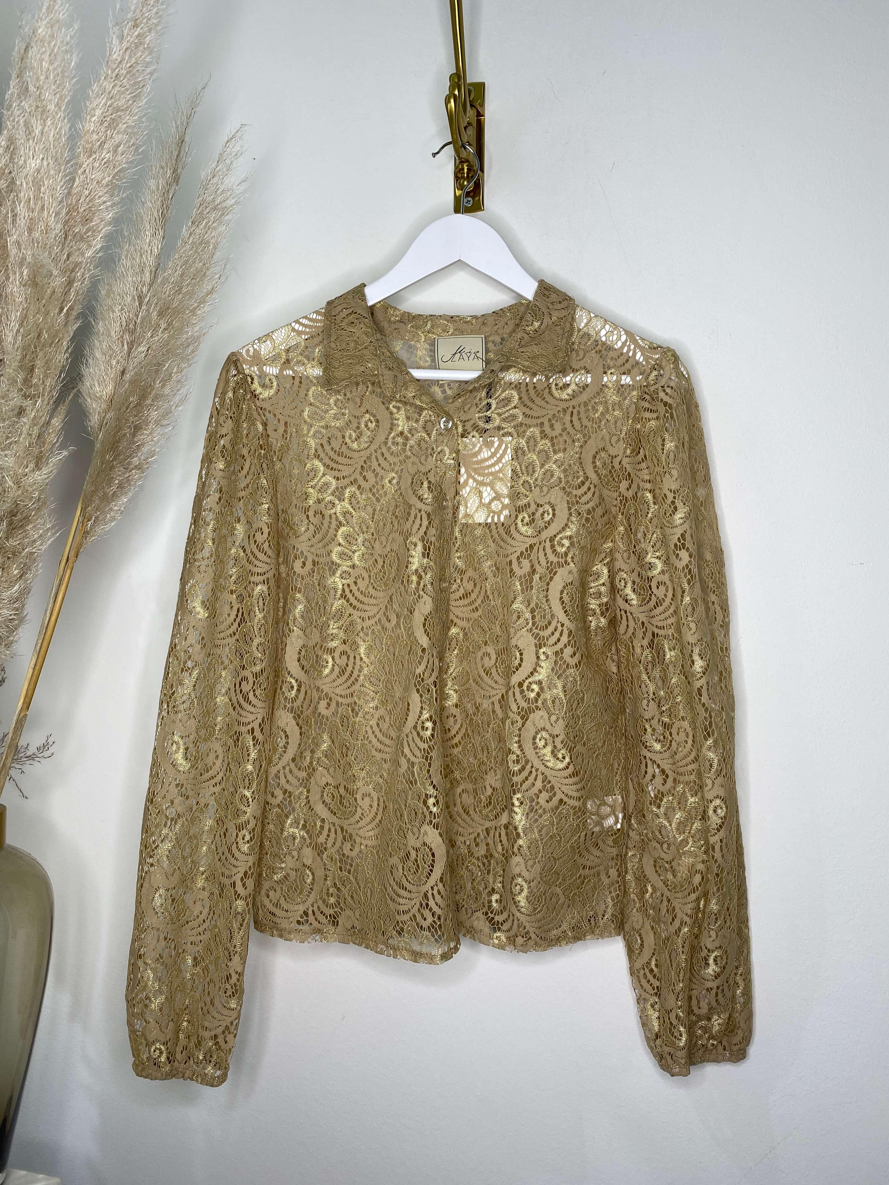 Spitzen Bluse Gold