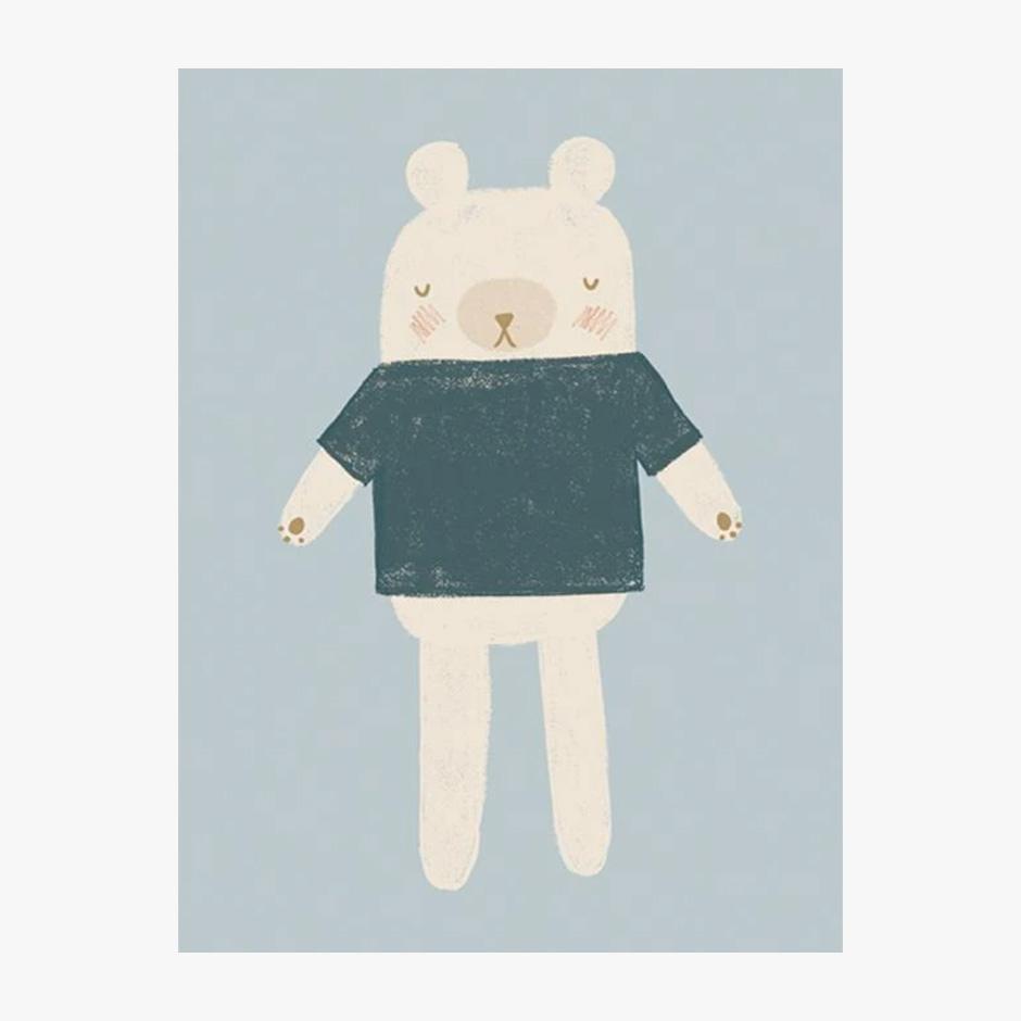 Raspberry Blossom - Bear Print Blue