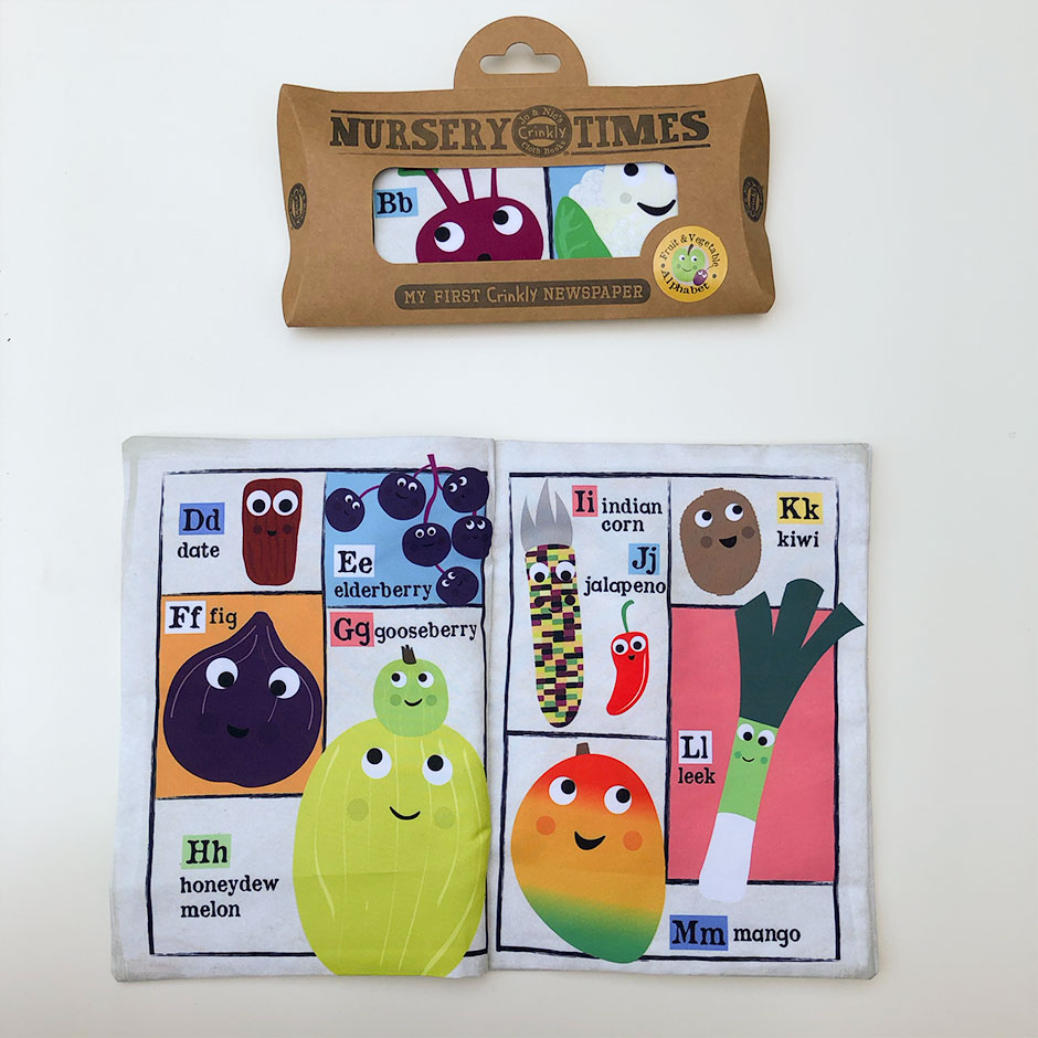 Crinkly Cloth Books - Fruit & Vegetable Alphabet