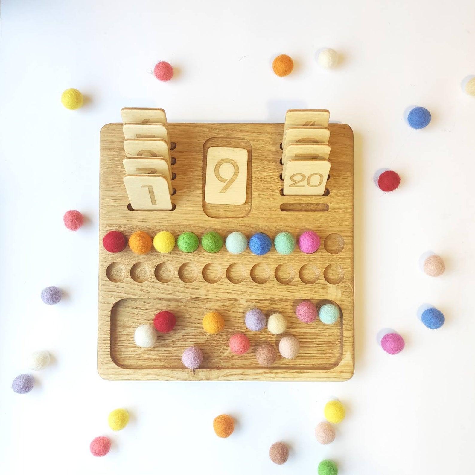 Three Wood - Reversible Maths Board 1-20