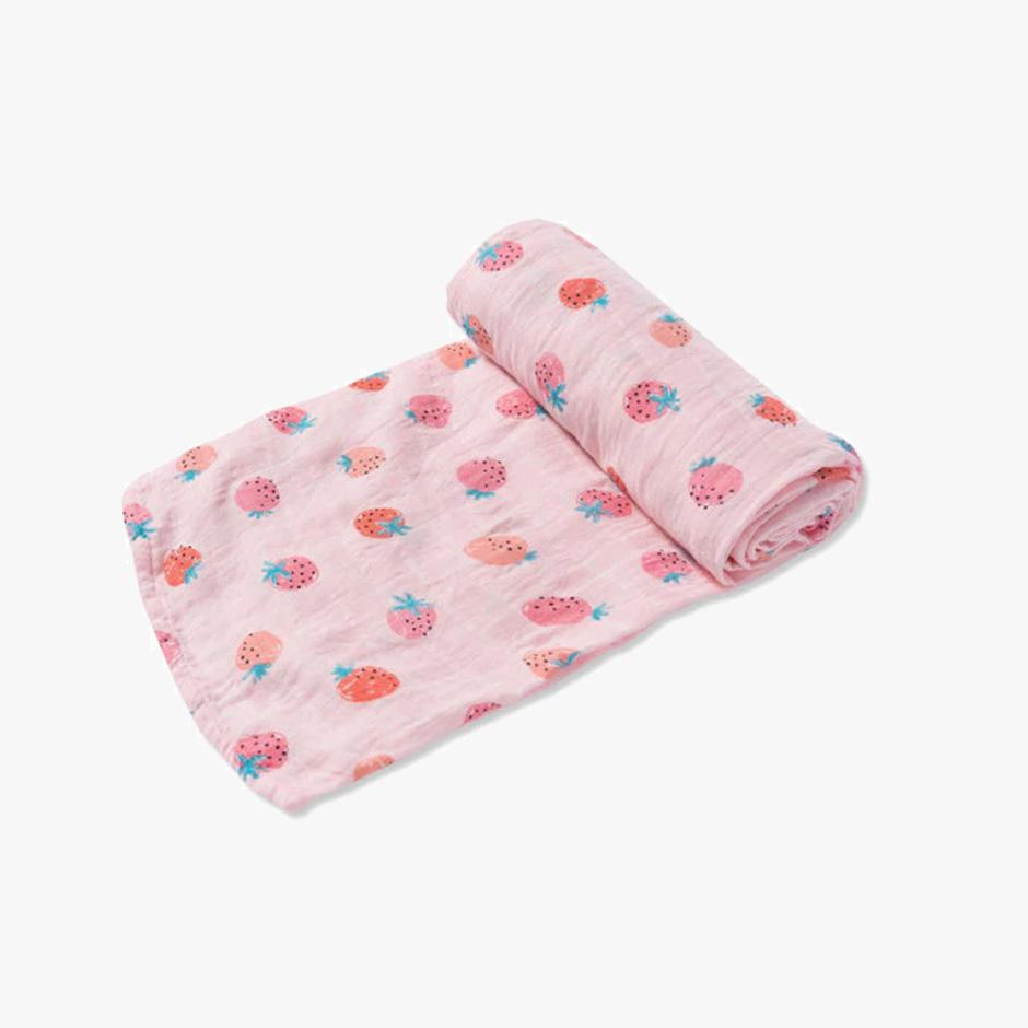 Angel Dear - Strawberries Muslin Swaddle Blanket
