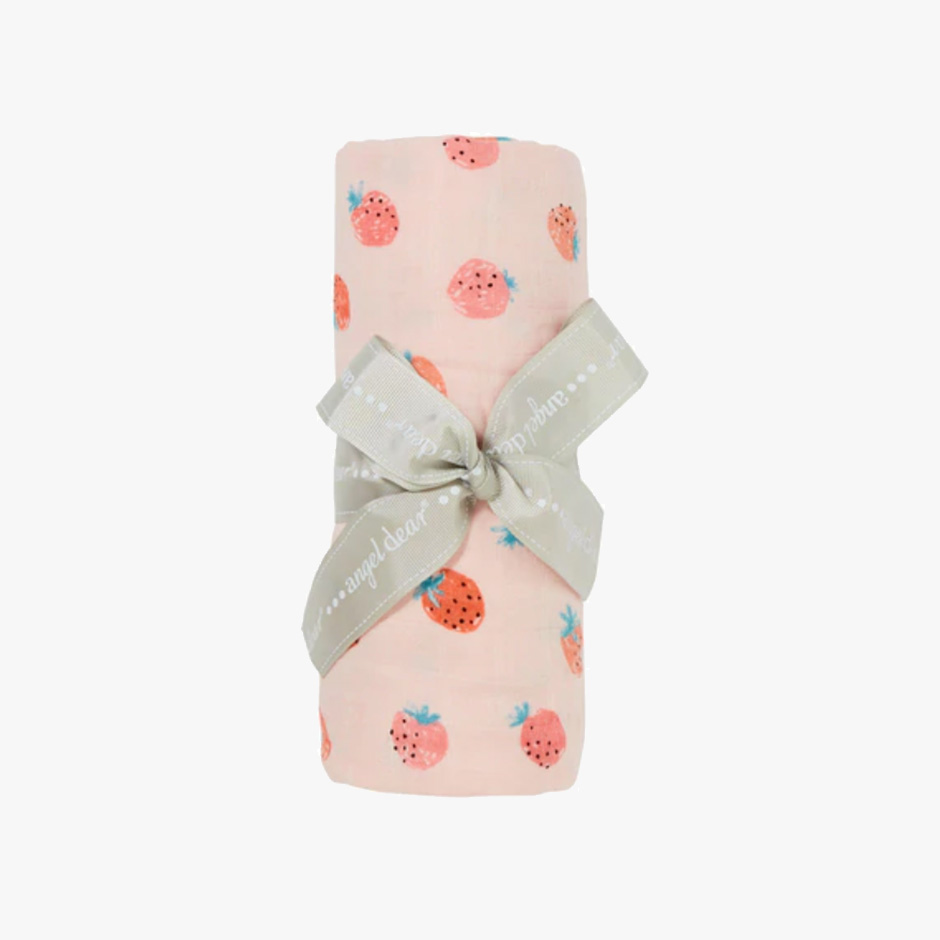 Angel Dear - Strawberries Muslin Swaddle Blanket
