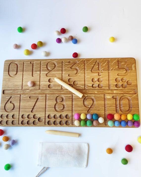 Three Wood - Oak Number Tracing Board