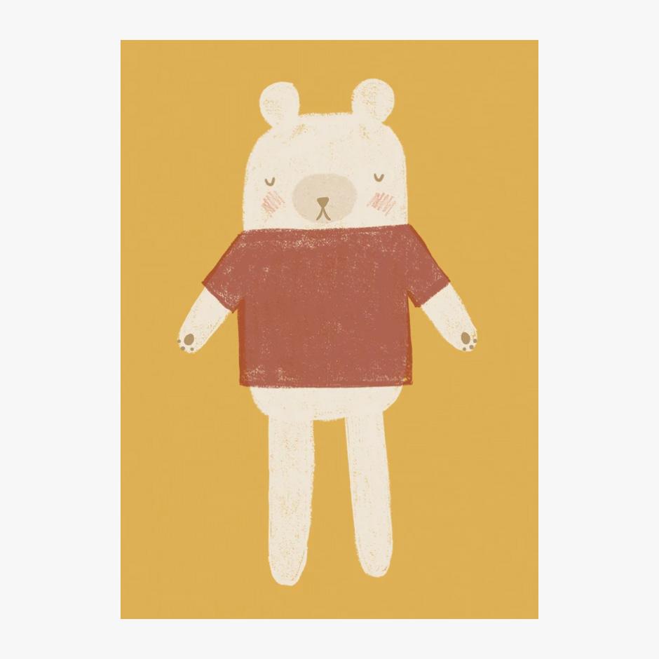 Raspberry Blossom - Bear Print Mustard