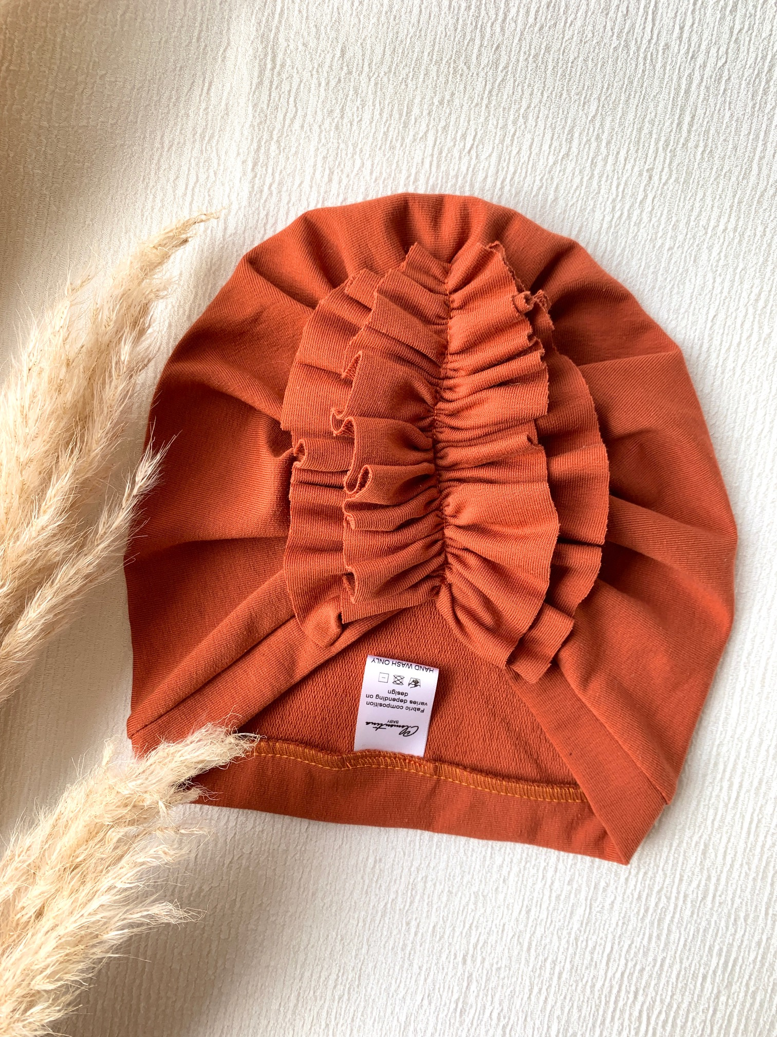 Clementina Baby - Burnt Orange Ruffle Turban