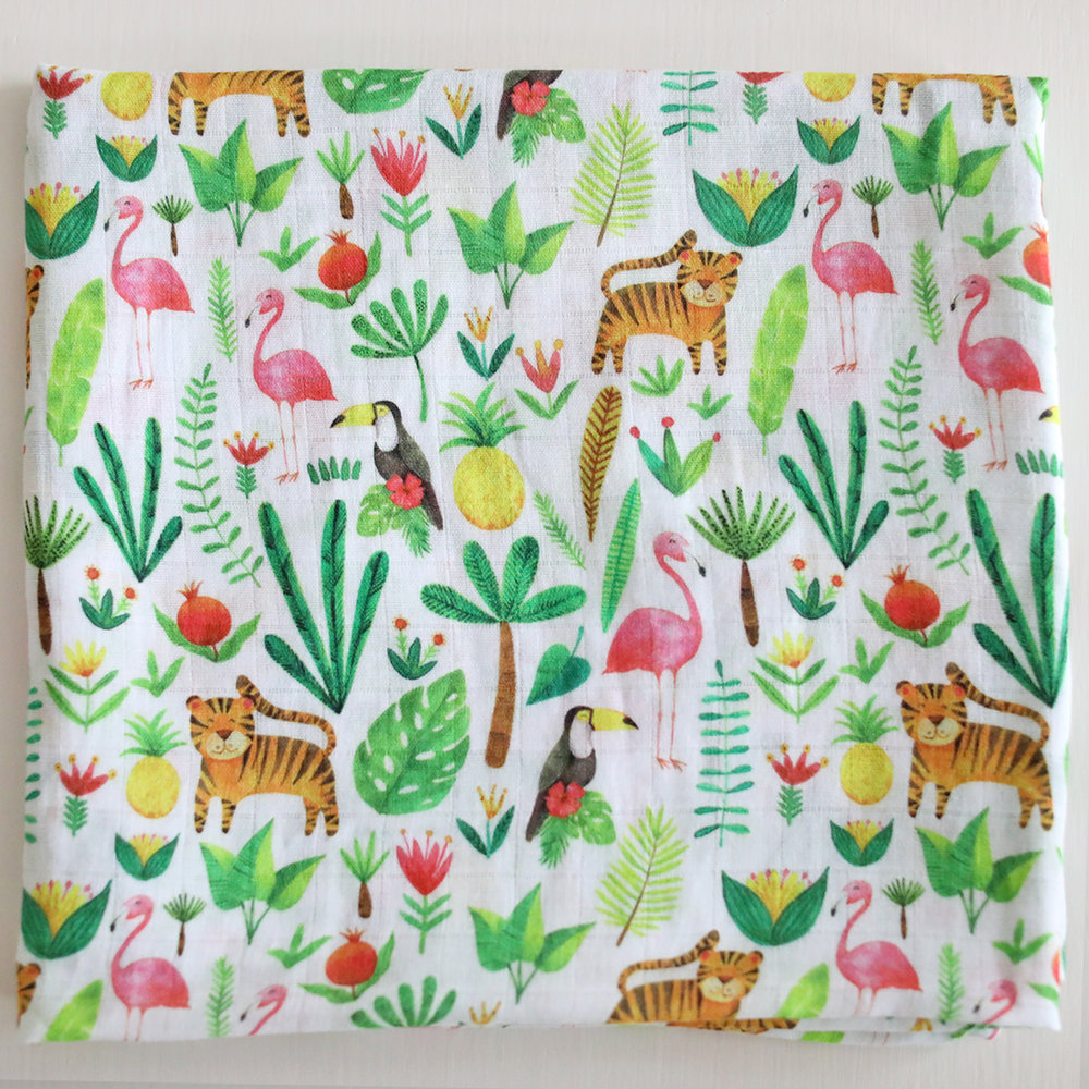 Fox in the Attic Tropical Muslin Swaddle Blanket