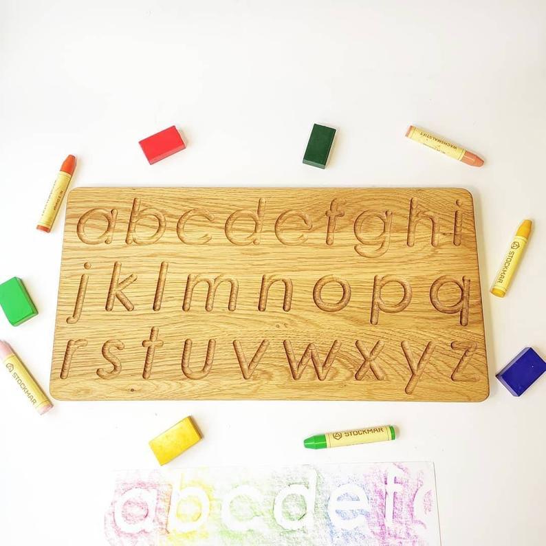 Three Wood - Lowercase Alphabet Tracing Board