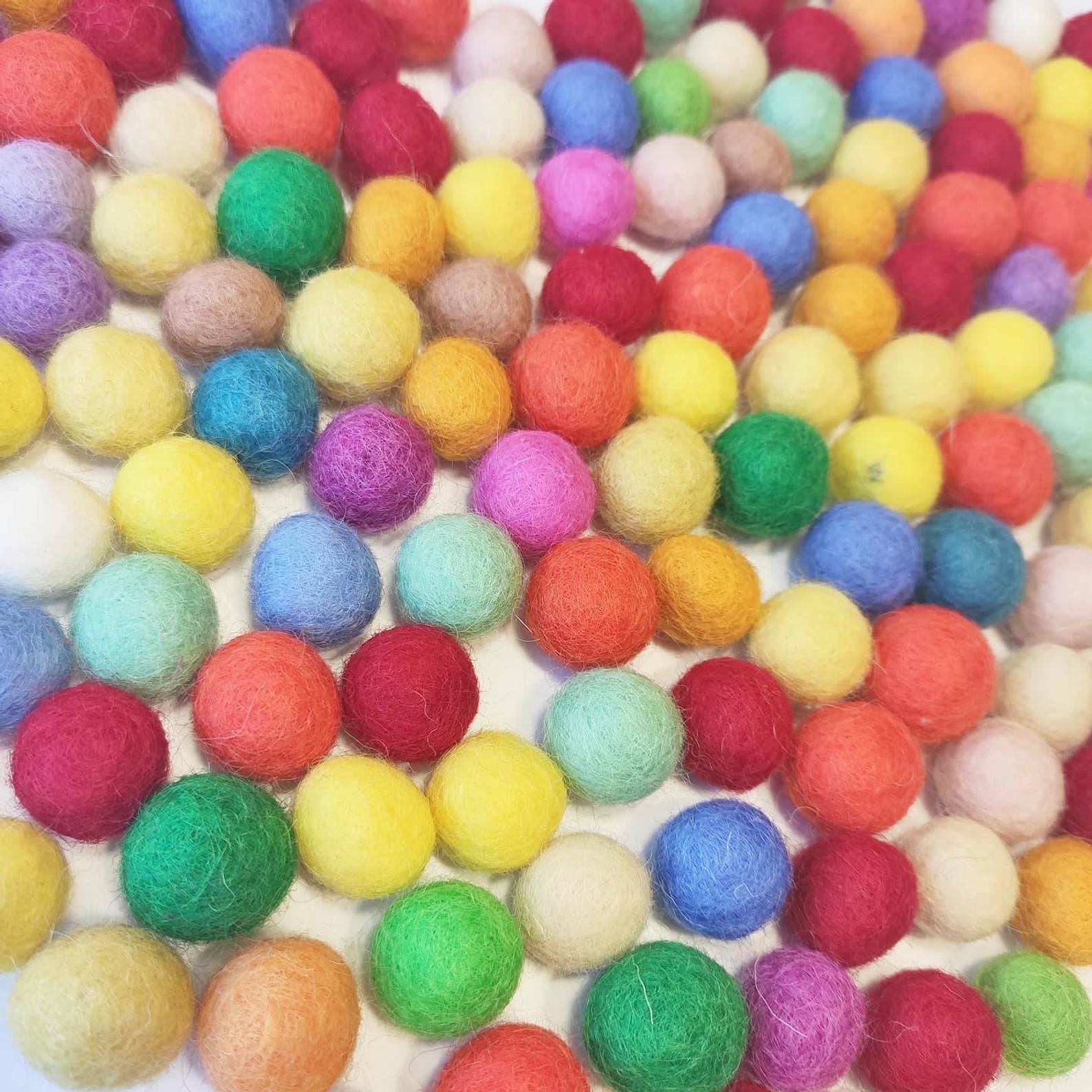 Three Wood - Multicoloured Woolen Felt Balls