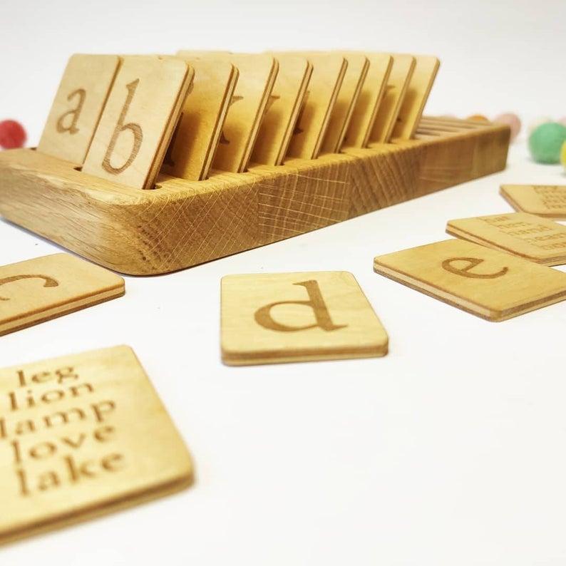 Three Wood - Alphabet Cards & Holder