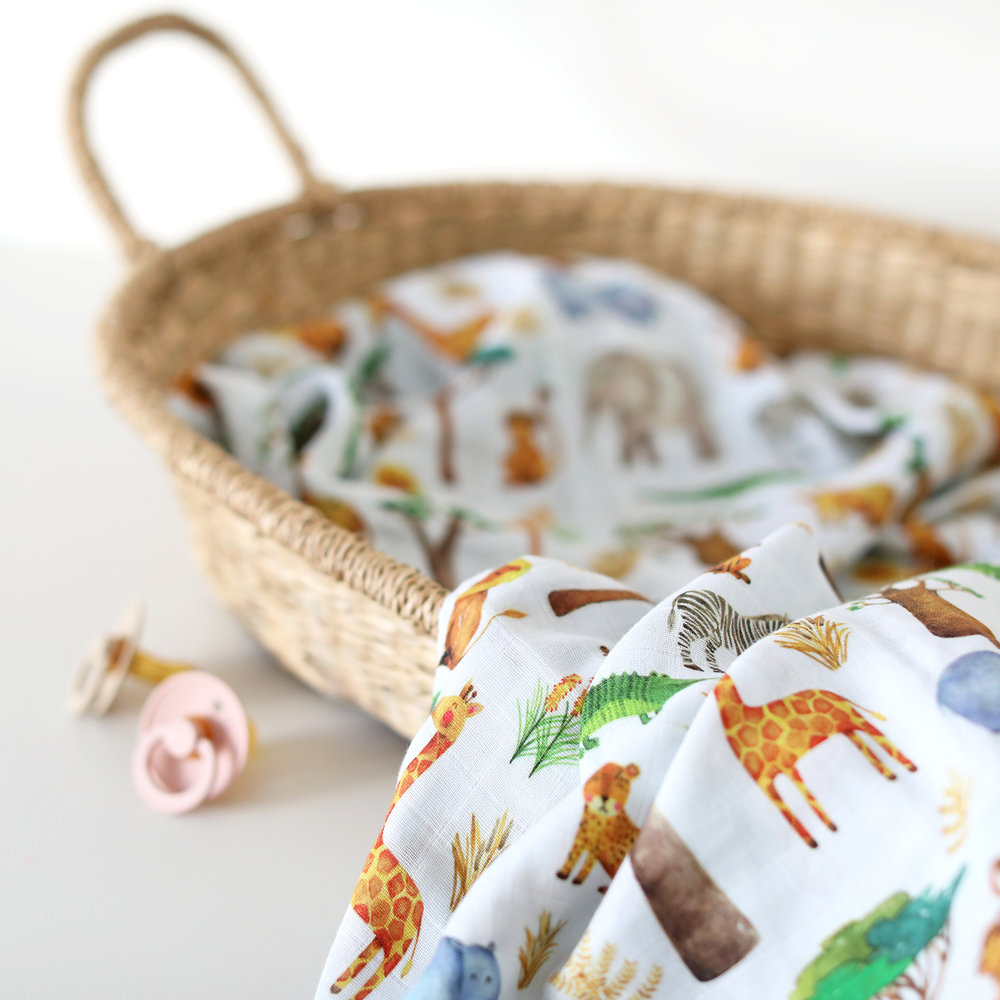 Fox in the Attic Safari Muslin Swaddle Blanket