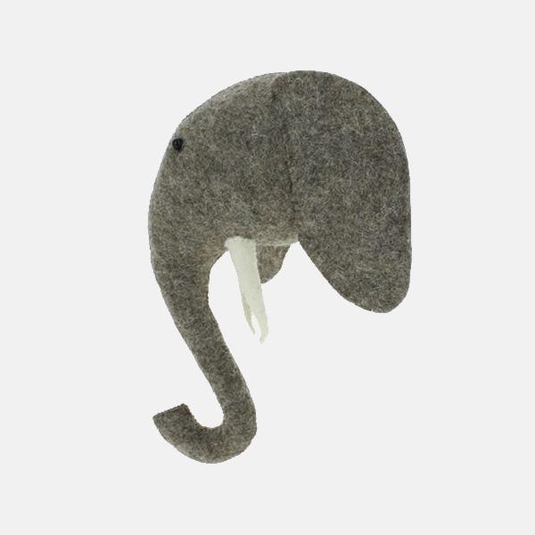 Fiona Walker - Mini Grey Felt Elephant Head