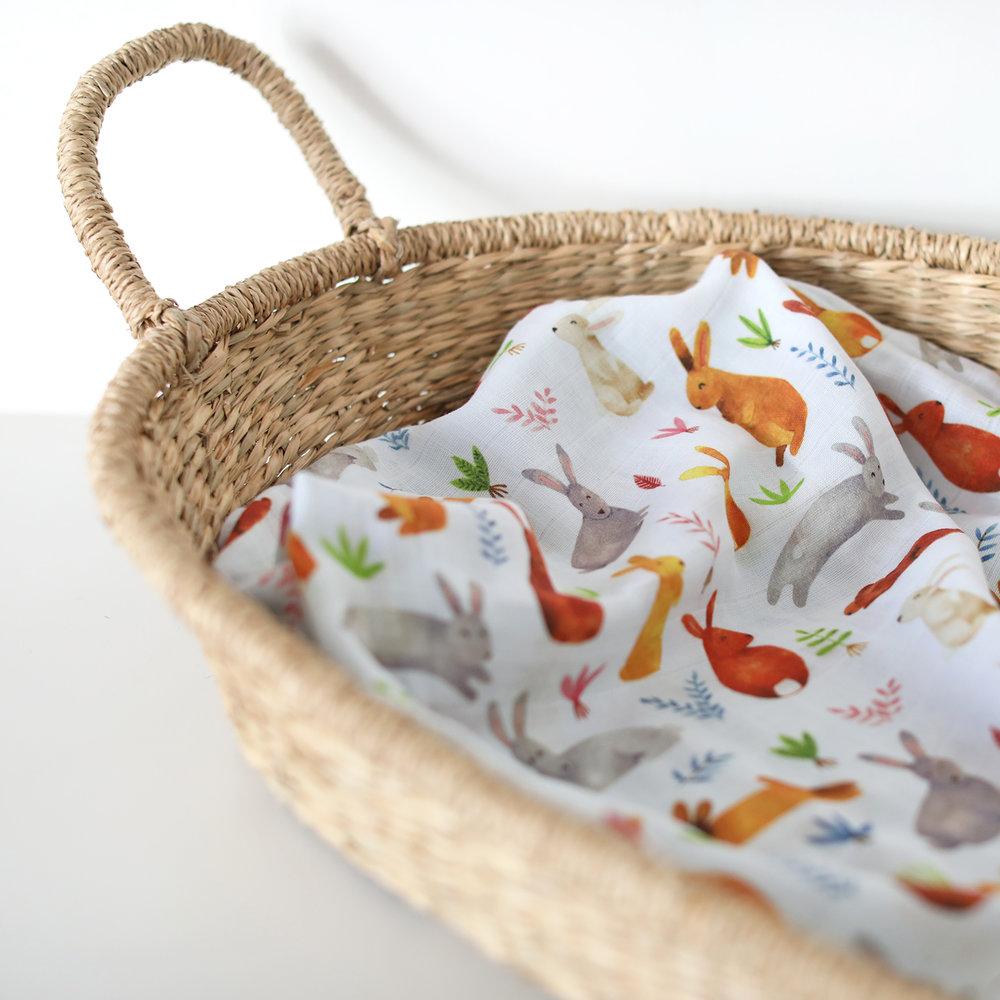 Fox in the Attic Rabbit Muslin Swaddle Blanket