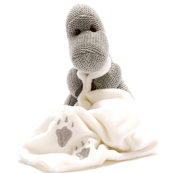 Sweet Baby - Knitted Grey Diplodocus With Comfort Blanket