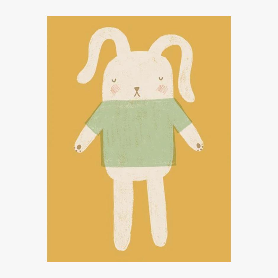 Raspberry Blossom - Bunny Print Mustard