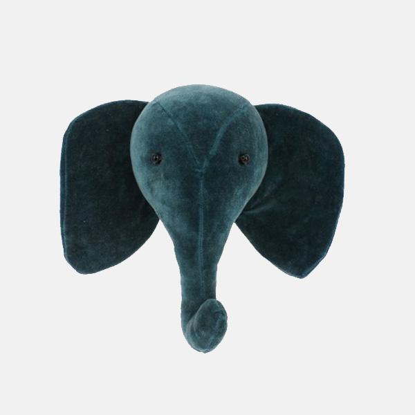 Fiona Walker - Mini Teal Velvet Elephant Head