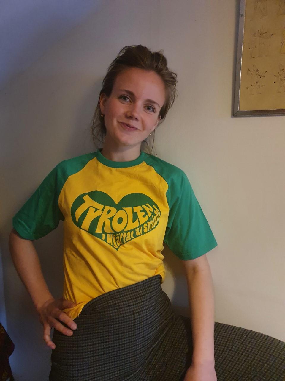 Tyrolen T-shirt Gul/Grön med Grönt tryck