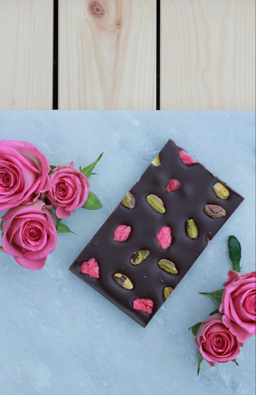 Dark Chocolate Rose & Pistachio Slab