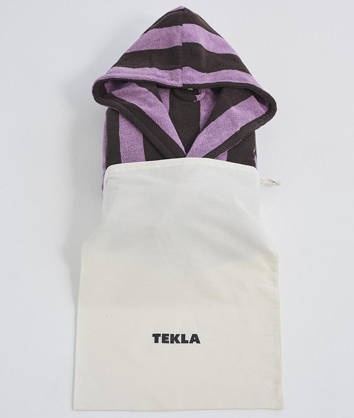 Tekla Hooded Bathrobe - Purple & Brown