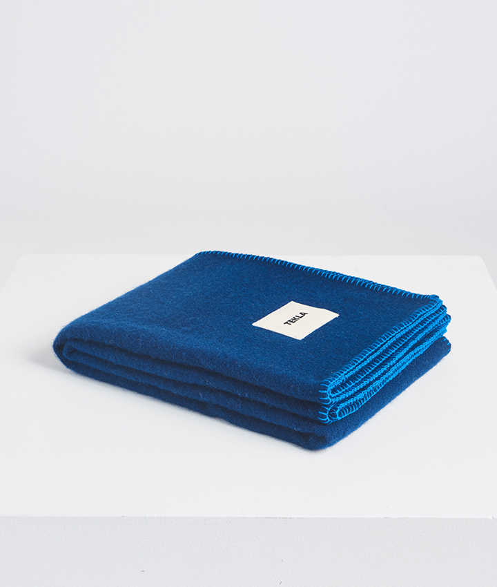 Tekla Pure New Wool Blanket Electric blue