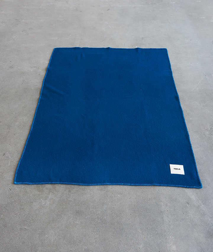 Tekla Pure New Wool Blanket Electric blue