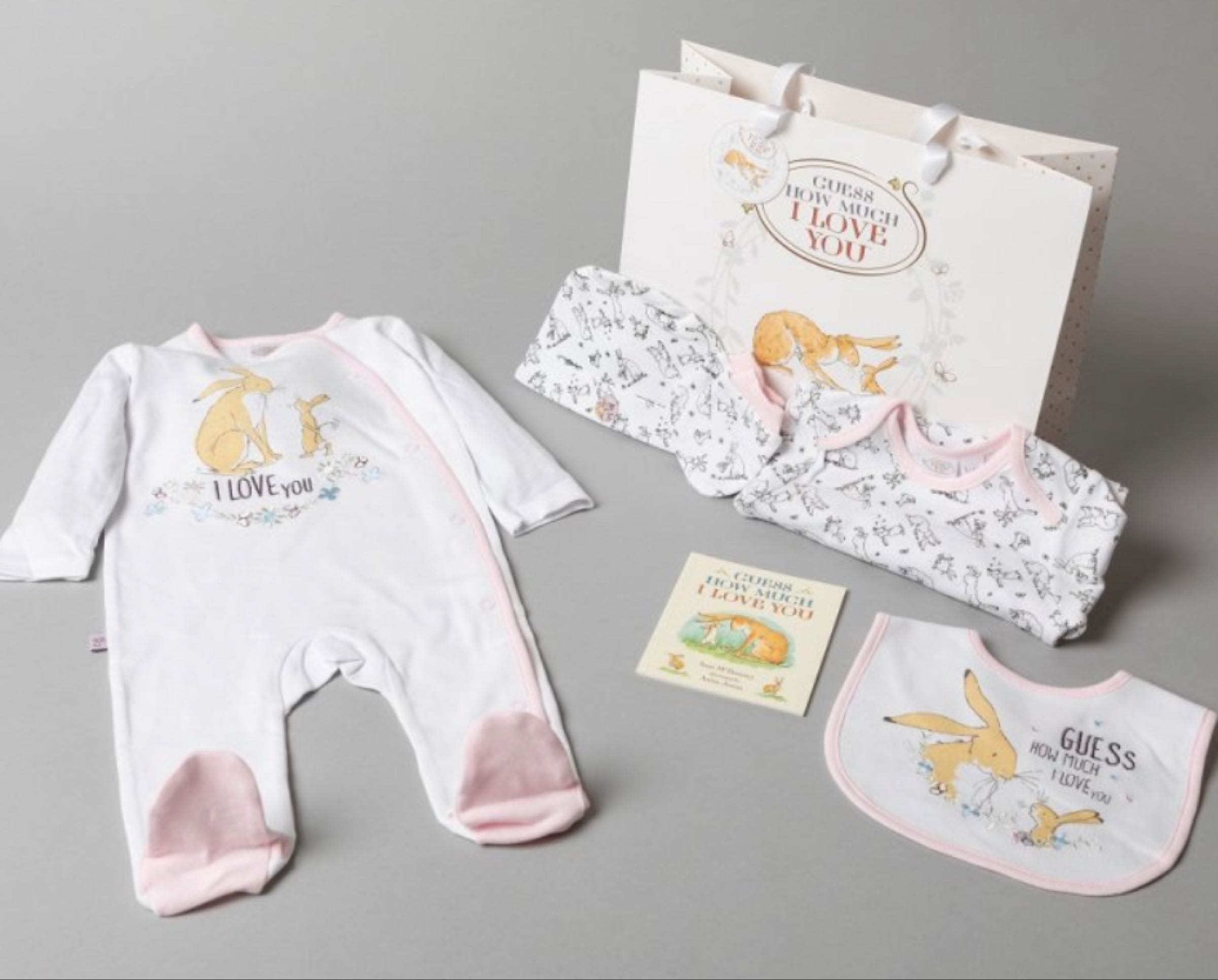 Guess How Much I Love You Layette Gift Bag Set   - sleepsuit, bodysuit, mitts, bib, hat, book and gift bag -  Pink