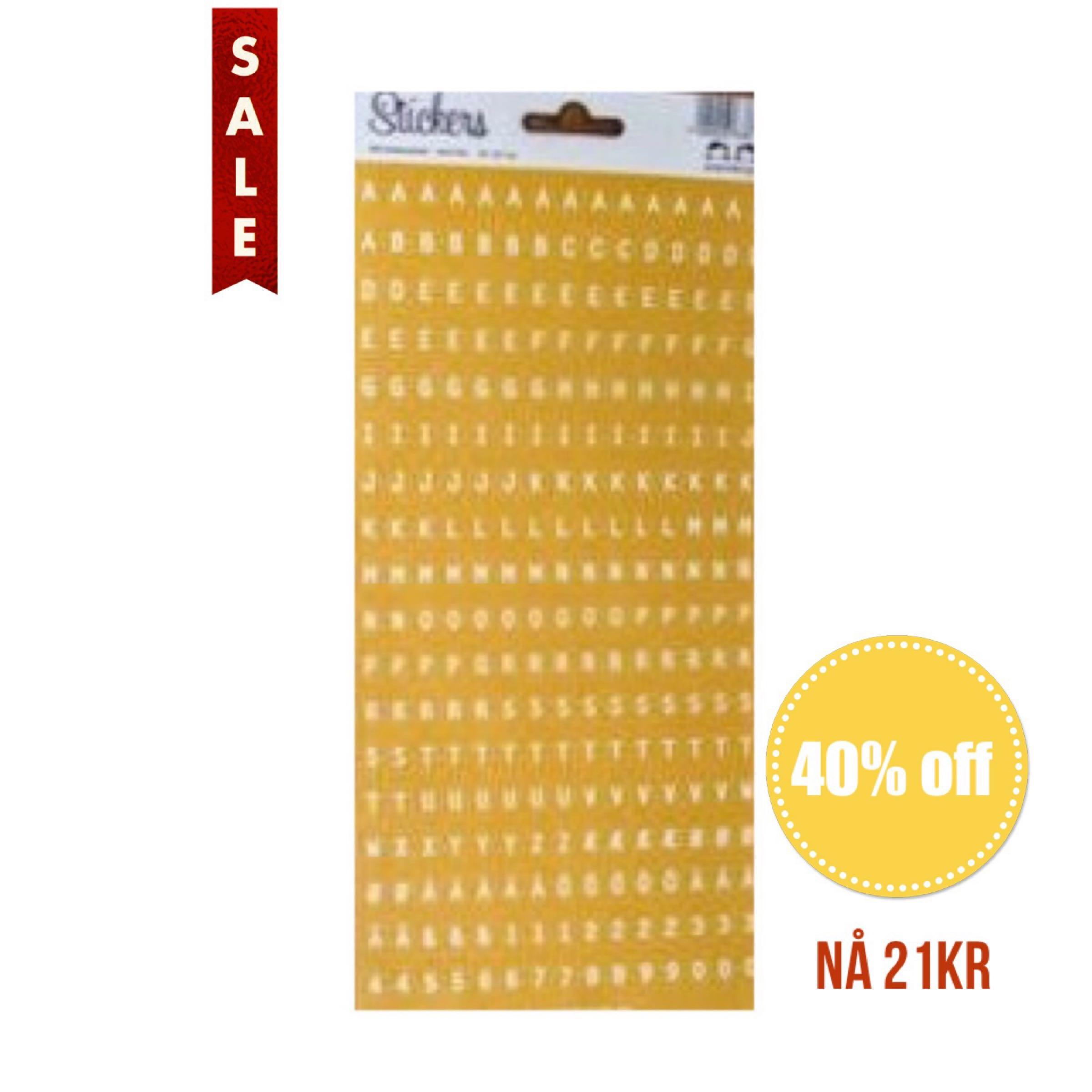 Papirdesign Alphabet Stickers / Klistremerker Alfabet - Gul / Yellow