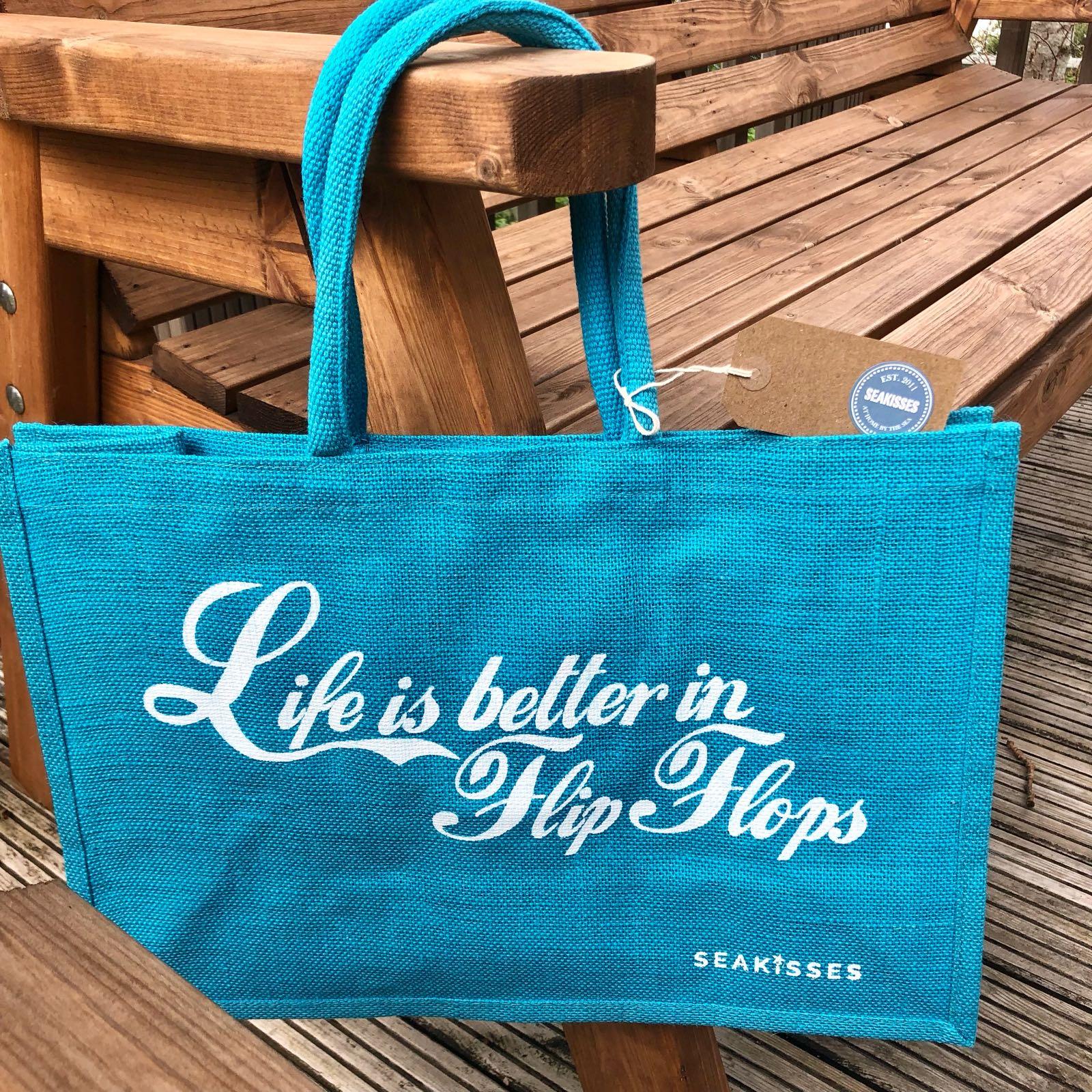Sea Kisses Life is Better in Flip Flops Jute Shoulder Bag  Aqua