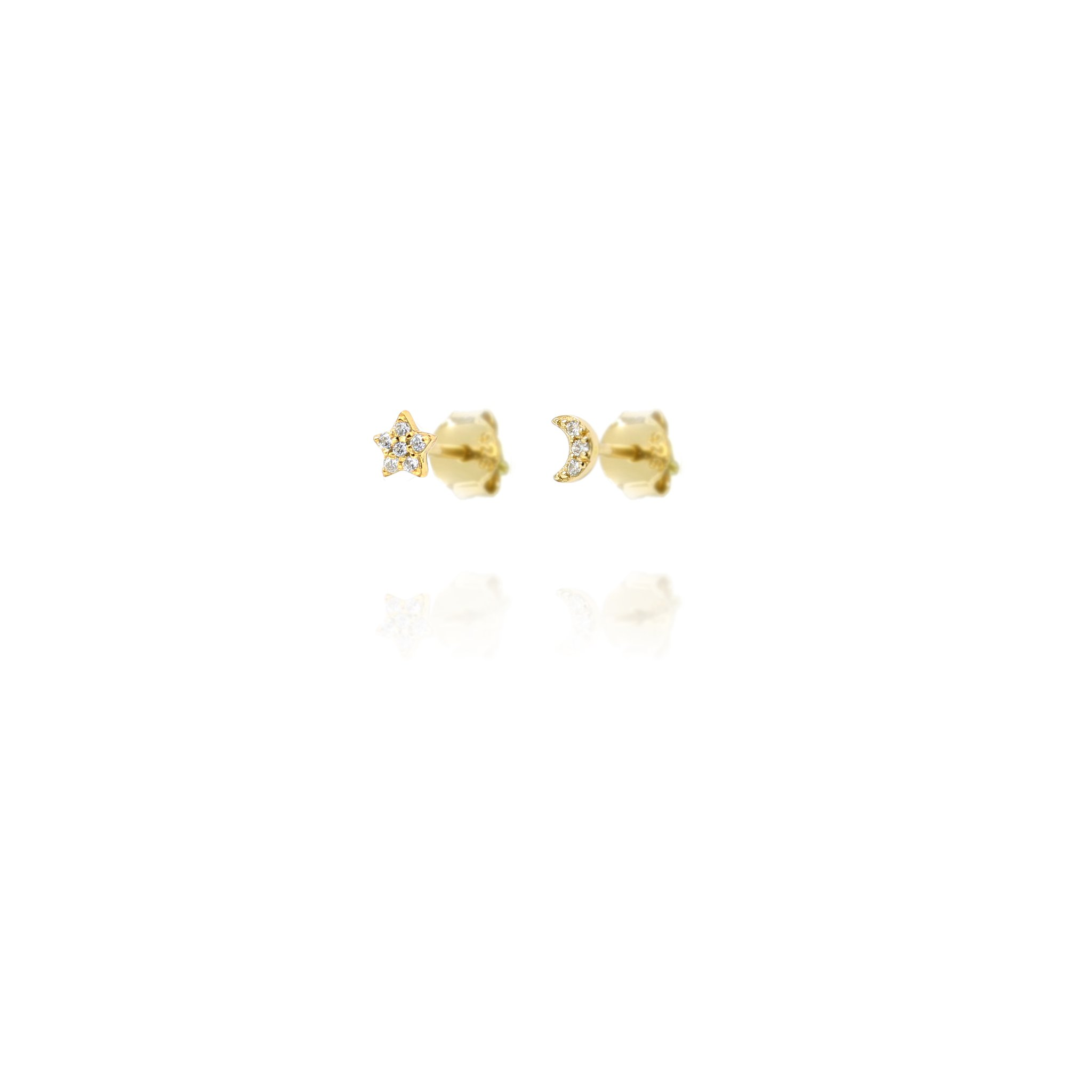 Stud Earrings Sparkly Star & Moon - Gold Plate on Sterling Silver EG7/G
