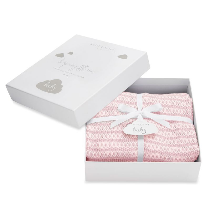 Katie Loxton Baby Blanket - Pink Knitted + Boxed