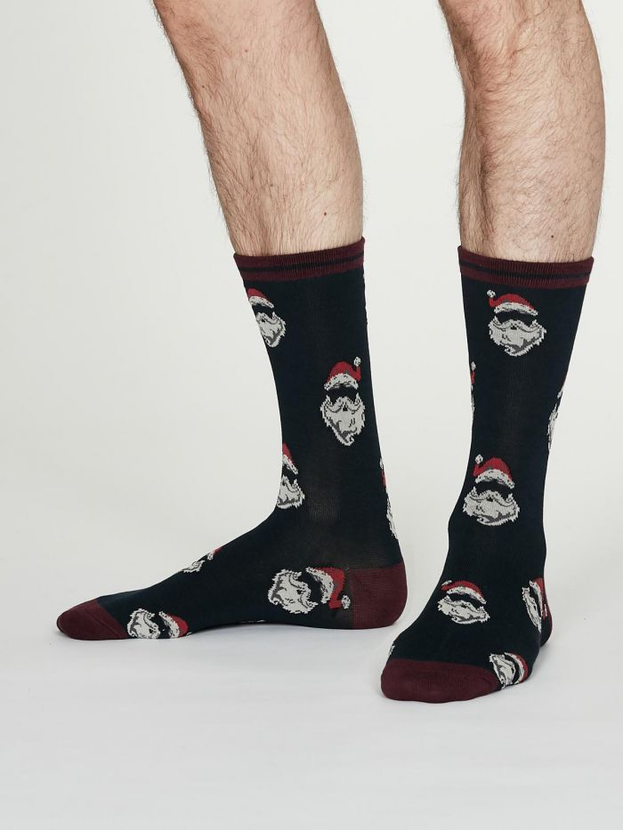 Mens Socks Thought Festive - Father Christmas Navy