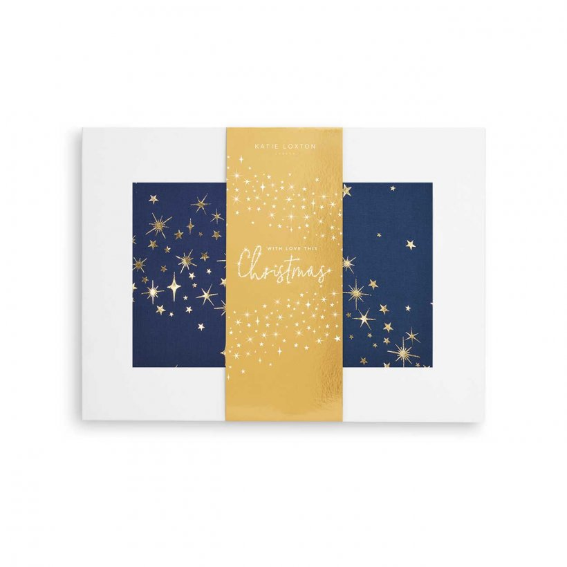 Katie Loxton Scarf - With Love This Christmas Metallic Boxed Scarf Navy