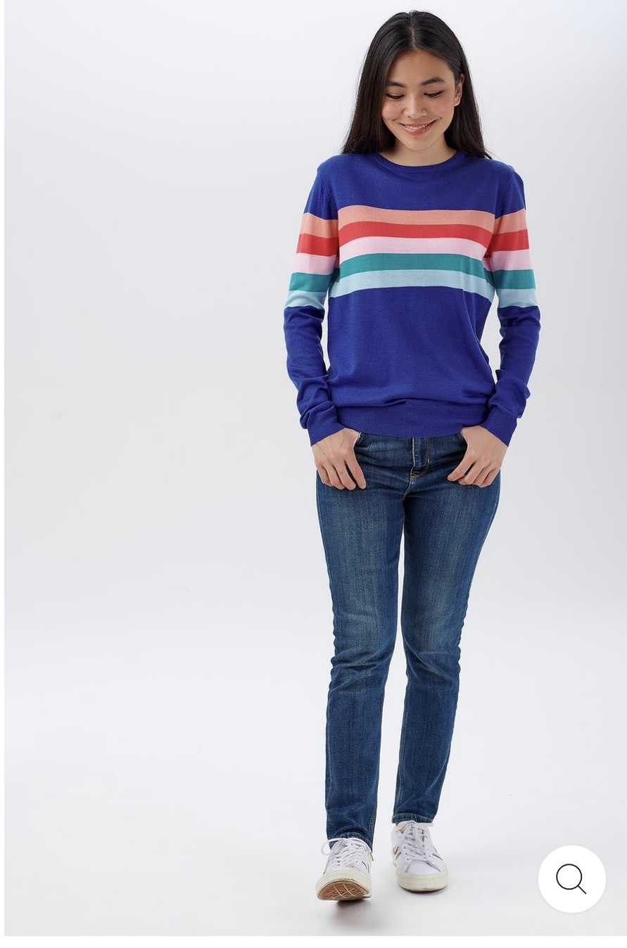 Sugarhill Brighton - Velma Sherbert Stripe Sweater French Blue - WAS £49