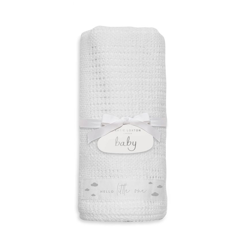 Katie Loxton Baby Blanket - White 'Hello Little One'