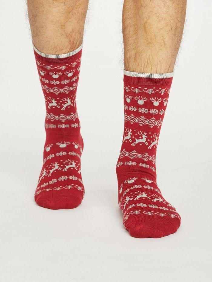 Mens Socks Thought Festive - Reindeer Red