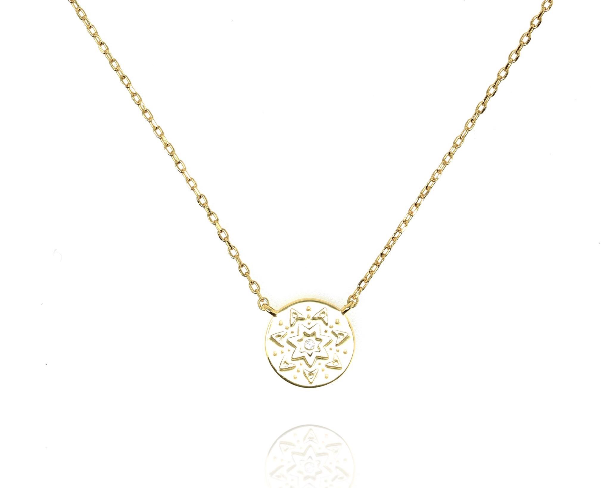 Sunburst Disc Necklace  - Gold NG-22/G