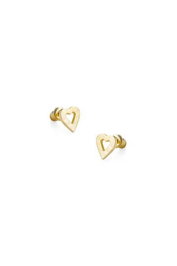 Tutti Earrings - Cherish Open Heart Hammered Gold